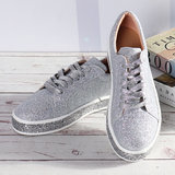 Nis Femmes Printemps Sequin Glitter Bling Sneakers Casual Lace Up Flats Casual Platform Chaussures_