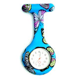 Butterfly Pattern Nurse Watch Colorful Siliconen zakhorloge Doctor Fob Watch_