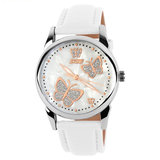 SKMEI 9079 Butterfly PU Leather Band Life Waterproof Vrouwen Quartz Wrist Watch_