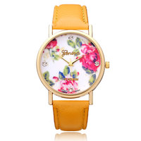 Jelly PU Leather Crystal Flower Ronde Vrouwen Horloge