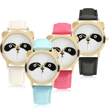 Fashion Panda Unique Women Quartz Watch Leather Vrouwen Mannen Horloge