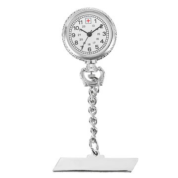 Verpleegster Zilver Wit Dial Quartz Zakhorloge Clear Cover Pin
