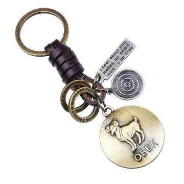 Retro Twelve constellation Woven Keychain Soft Lederen koord sleutelhanger voor heren
