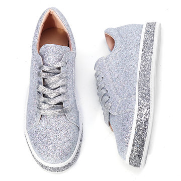 Vrouwen Spring Sequin Glitter Bling Sneakers Casual Lace Up Flats Platform Shoes