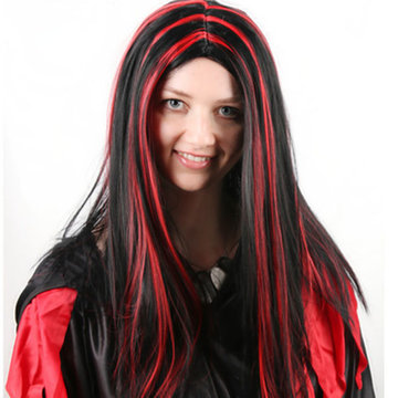 Halloween Party Full Hair Cosplay Pruiken Anime Long Straight Hair Black With Red