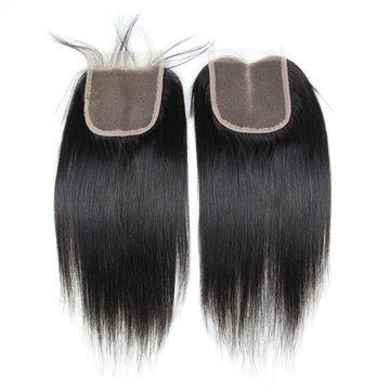 6A Virgin Hair Lace Closure Straight Brazilian Human Hair Closures 4x4 Free Middle Part