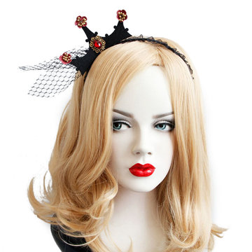 Halloween Party Crown Hairwear Speelgoed Vintage Girl Tiara Fashion Lace Mesh Hair Bands