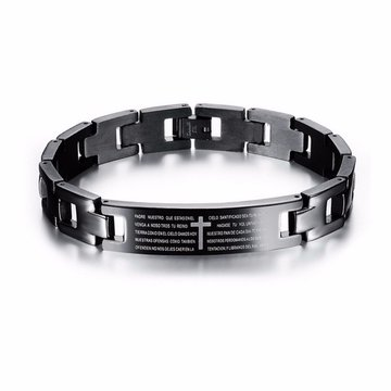 Cross Bible Black Titanium Heren Magneet Armband Healing Jewelry Men Gift