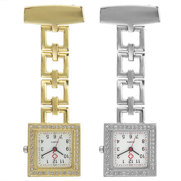 Crystal Square Nurse Watch roestvrij stalen band Quartz horloge hanger zakhorloge