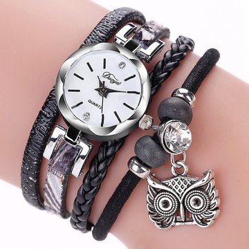 DUOYA Cute Style Owl Hanger Dames Armband Watch Fashion Vrouwen Horloge