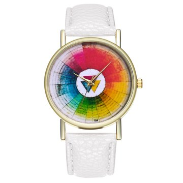 Vintage Color Wheel Color Board dames Classic Style lederen band quartz horloge