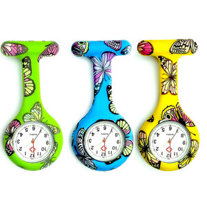 Butterfly Pattern Nurse Watch Colorful Siliconen zakhorloge Doctor Fob Watch