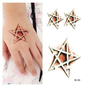 5pcs Halloween Tattoo Stickers Maak de mysterieuze Five Pointed Star Puncture