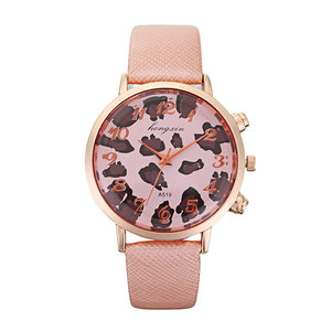 HY Bright Skin Leopard wijzerplaat Lady Rose Gold Shell slangenleer patroon riem quartz horloge